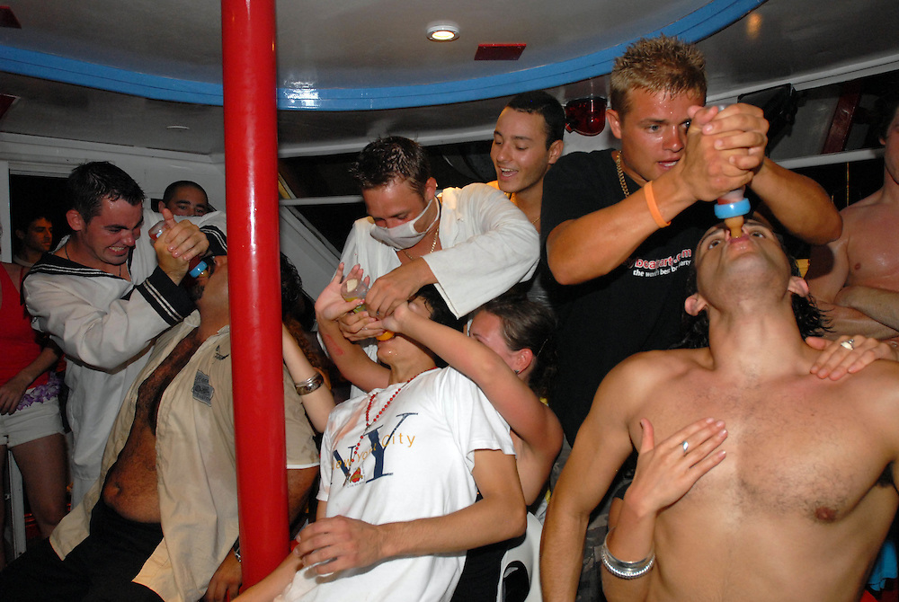 Before the game in which men have to sit on the laps of the women and are bottle fed, the MC announces that the girls will most likely become mothers and might even get pregnant on the boat during the fantasy boat party on board the Napa Queen in Ayia Napa, Cyprus.