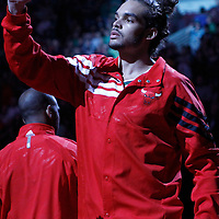 17 March 2012: Chicago Bulls center Joakim Noah (13) is seen during the players introduction prior to the Chicago Bulls 89-80 victory over the Philadelphia Sixers at the United Center, Chicago, Illinois, USA.