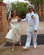 Arizona Congresswoman, Gabrielle Giffords, and her husband space shuttle commander, Mark Kelly, at their wedding in Amado, Arizona, USA, on November 10, 2007.