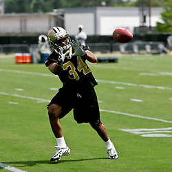 08 May 2009: Marcus Griffin (34) a rookie tryout defensive back from Texas participates in drills during the New Orleans Saints  rookie minicamp held at the team's practice facility in Metairie, Louisiana.