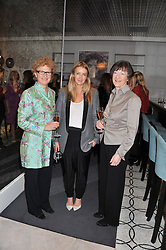 Left to right, SOPHIE MIRMAN winner of the 1988 Veuve Clicquot Business Woman Award, ANYA HINDMARCH winner of the 2012 Veuve Clicquot Business Woman Award and MAIR BARNES winner of the 1989 Veuve Clicquot Business Woman Award attending the Veuve Clicquot Business Woman Previous Winners Dinner held at Grace, 11c West Halkin Street, London on 16th April 2013.