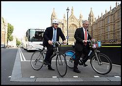 The Mayor of London Boris Johnson  joins  Commissioner of Transport for London Peter Hendy to unveil plans to tackle HGV-cycle safety in capital, London, United Kingdom. Wednesday, 4th September 2013. Picture by Andrew Parsons / i-Images