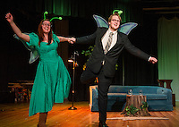 """May"" Jessica McDermott and ""Horace"" Taylor Gagne get ready to take flight as two mayflies during Laconia High School dress rehearsal for their one act play ""Time Flies"" on Monday afternoon.  (Karen Bobotas/for the Laconia Daily Sun)"