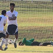 Delcastle Midfield Edgar Rossier-Estrada (10) celebrates after scoring a goal during a regular season soccer match between Newark and Delcastle Thursday, Oct. 22, 2015 at Delcastle in Wilmington.