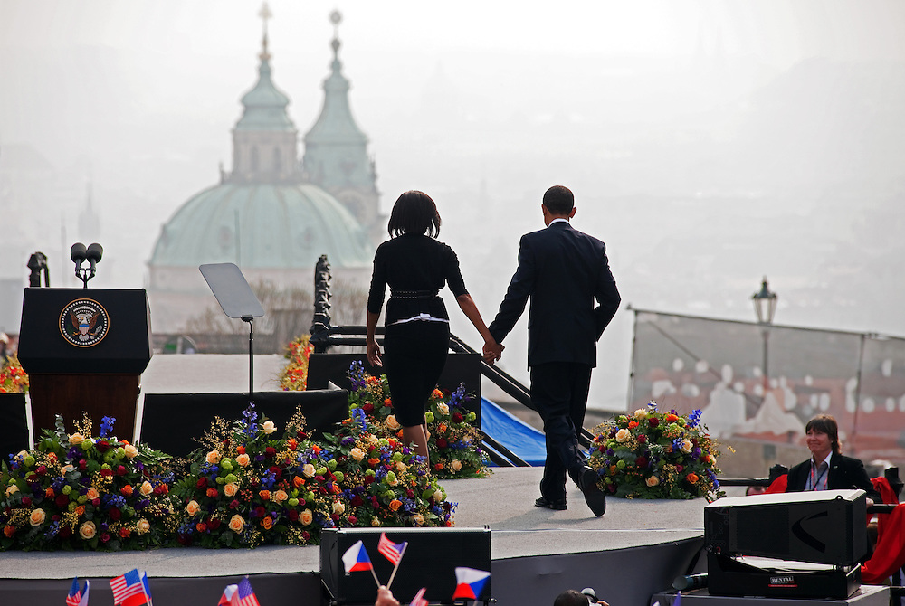 The President of the United States Barack Obama leaving with his wife Michelle Obama the stage after his speech which took place on Sunday the 5th of April at Hradcanske square in front of Prague castle in Czech Republic.
