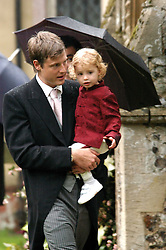 ZAK GOLDSMITH and his son at the wedding of Tom Parker Bowles to Sara Buys at St.Nicholas Church, Rotherfield Greys, Oxfordshire on 10th September 2005.<br />