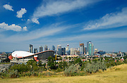 Calgary skyline showing Saddledome<br /> Calgary<br /> Alberta<br /> Canada