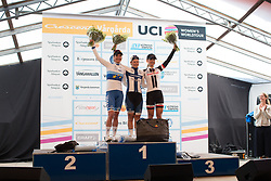 The top three finishers celebrate on the podium of the Crescent Vargarda - a 152 km road race, starting and finishing in Vargarda on August 13, 2017, in Vastra Gotaland, Sweden. (Photo by Balint Hamvas/Velofocus.com)