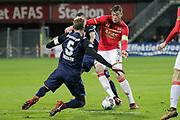 (L-R) Stefan Thesker of FC Twente, Michael Liendl of FC Twente, Wout Weghorst of AZ Alkmaar
