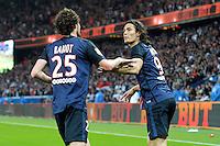 Joie Edinson Cavani / Adrien Rabiot - 23.05.2015 - Paris Saint Germain / Reims - 38e journee Ligue 1<br />Photo : Andre Ferreira / Icon Sport