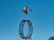 26 JUNE 2019 - CENTRAL CITY, IOWA: JONATHAN, a performer with the Los Moralitos Circus, performs his daredevil routine at the Linn County Fair. Summer is county fair season in Iowa. Most of Iowa's 99 counties host their county fairs before the Iowa State Fair, August 8-18 this year. The Linn County Fair runs June 26 - 30. The first county fair in Linn County was in 1855. The fair provides opportunities for 4-H members, FFA members and the youth of Linn County to showcase their accomplishments and talents and provide activities, entertainment and learning opportunities to the diverse citizens of Linn County and guests.      <br /> PHOTO BY JACK KURTZ