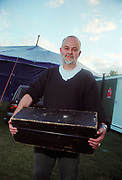 John Peel (RIP) holding his legendary record box, Tribal Gathering. 24th May, 1997