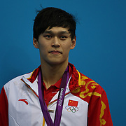 Yang Sun, China, winning the Gold medal in the Men's 400m Freestyle event during the swimming finals at the Aquatic Centre at Olympic Park, Stratford during the London 2012 Olympic games. London, UK. 28th July 2012. Photo Tim Clayton