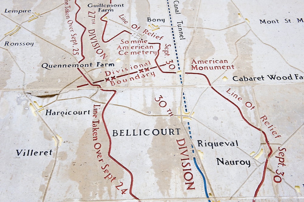 An engraved map at the Bellicourt American Monument illustrating the American operations. <br /> Bellicourt American Monument that commemorates the achievements and sacrifices of the 90,000 American troops who served in battle with the British Armies in France during 1917 and 1918. Bellicourt, Picardy, France.