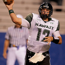 Sep 30, 2009; Ruston, LA, USA;  Hawaii Warriors quarterback Greg Alexander (12) throws a pass during the first quarter against the Louisiana Tech Bulldogs at Joe Aillet Stadium. Mandatory Credit: Derick E. Hingle-US PRESSWIRE