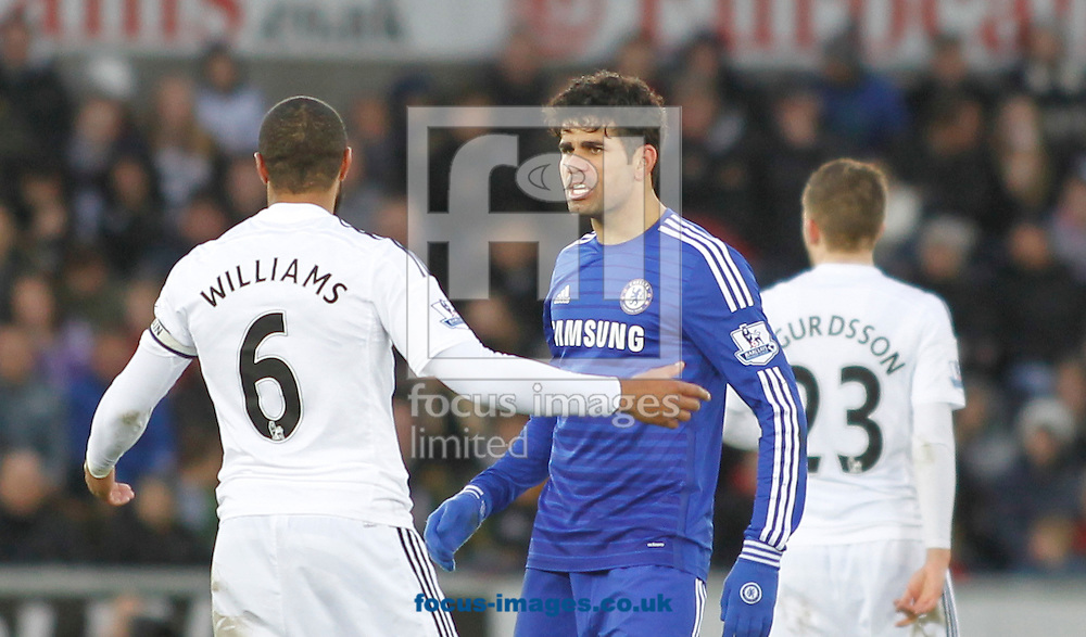 Ashley Williams of Swansea City and Diego Costa of Chelsea during the Barclays Premier League match at the Liberty Stadium, Swansea<br /> Picture by Mike Griffiths/Focus Images Ltd +44 7766 223933<br /> 17/01/2015