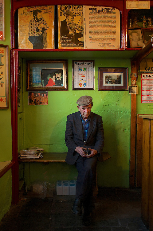 Inside O'Flaherty's pub in Dingle, Ireland.  Known for its music and traditional decoration.  Owned by Fergus O'Flaherty.