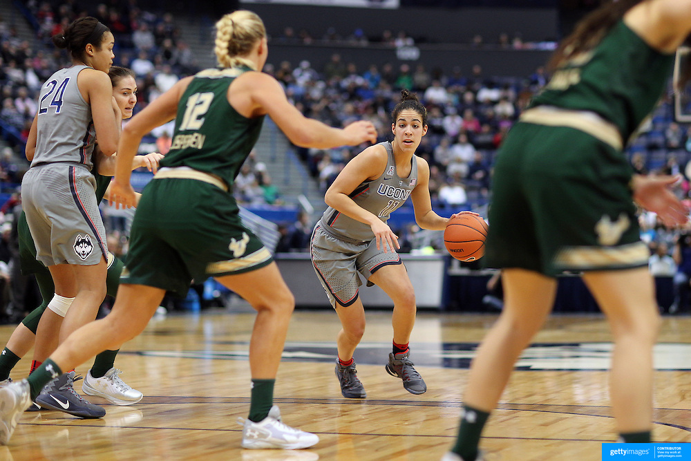 HARTFORD, CONNECTICUT- JANUARY 10: Kia Nurse #11 of the Connecticut Huskies in action during the the UConn Huskies Vs USF Bulls, NCAA Women's Basketball game on January 10th, 2017 at the XL Center, Hartford, Connecticut. (Photo by Tim Clayton/Corbis via Getty Images)