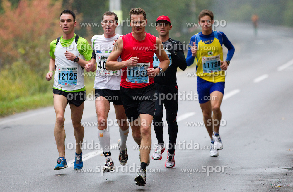 Sandi Trpin, Grega Hocevar, Marko Dolinar, Silvester Jaksa during 10km marathon of 16th International Ljubljana Marathon 2011 on October 23, 2011, in Trg republike, Ljubljana, Slovenia.  (Photo by Vid Ponikvar / Sportida)