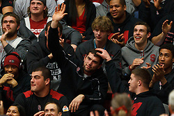 Dec 20, 2011; Stanford CA, USA;  Stanford Cardinal quarterback Andrew Luck waves from the stands during the first half against the Tennessee Lady Volunteers at Maples Pavilion.  Mandatory Credit: Jason O. Watson-US PRESSWIRE