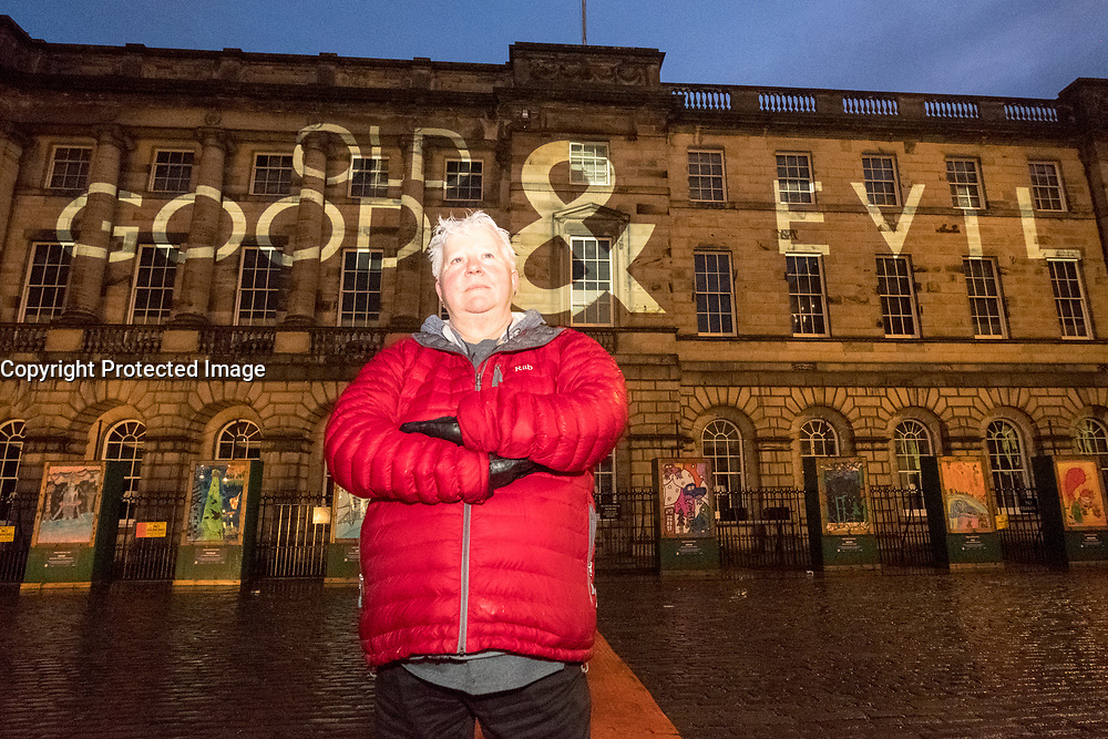 Edinburgh, Scotland, United Kingdom. 2 January , 2017. Bestselling Author Val MacDermid launches the Message from the Skies in Edinburgh. The project features projections onto many of the city's landmarks, following chapter by chapter a new story written by Val McDermid called New Year's Resurrection, commissioned by Edinburgh's Hogmanay and Edinburgh International Book Festival.