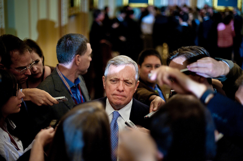 Sep 14, 2010 - Washington, District of Columbia, U.S., - Senator Dick Durban, (D-IL) speaks to the press following the Democrat's leadership luncheon on Tuesday.(Credit Image: © Pete Marovich/ZUMA Press)