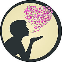VECTOR FILE .EPS<br /> Lateral view of a girl silhouette blowing a kiss , with small hearts in a shape of a bigger heart in the background against a gradient filled circle. romance and love concept