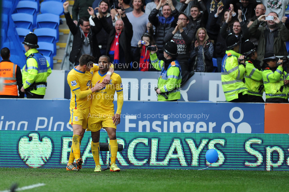 Jason Puncheon of Crystal Palace &reg; celebrates after he scores his sides 3rd goal. Barclays Premier league match, Cardiff city v Crystal Palace at the Cardiff city stadium in Cardiff, South Wales on Saturday 5th April 2014.<br /> pic by Andrew Orchard, Andrew Orchard sports photography.