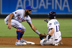 June 14, 2018 - Phoenix, AZ, U.S. - PHOENIX, AZ - JUNE 14: New York Mets shortstop Amed Rosario (1) tags Arizona Diamondbacks shortstop Nick Ahmed (13) out at second during the MLB baseball game between the Arizona Diamondbacks and the New York Mets on June 14, 2018 at Chase Field in Phoenix, AZ (Photo by Adam Bow/Icon Sportswire) (Credit Image: © Adam Bow/Icon SMI via ZUMA Press)