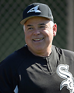 GLENDALE, ARIZONA - FEBRUARY 22:  Manager Rick Renteria #17 of the Chicago White Sox looks on during a during spring training workout February 22, 2018 at Camelback Ranch in Glendale Arizona.  (Photo by Ron Vesely)  Subject:   Ricky Renteria