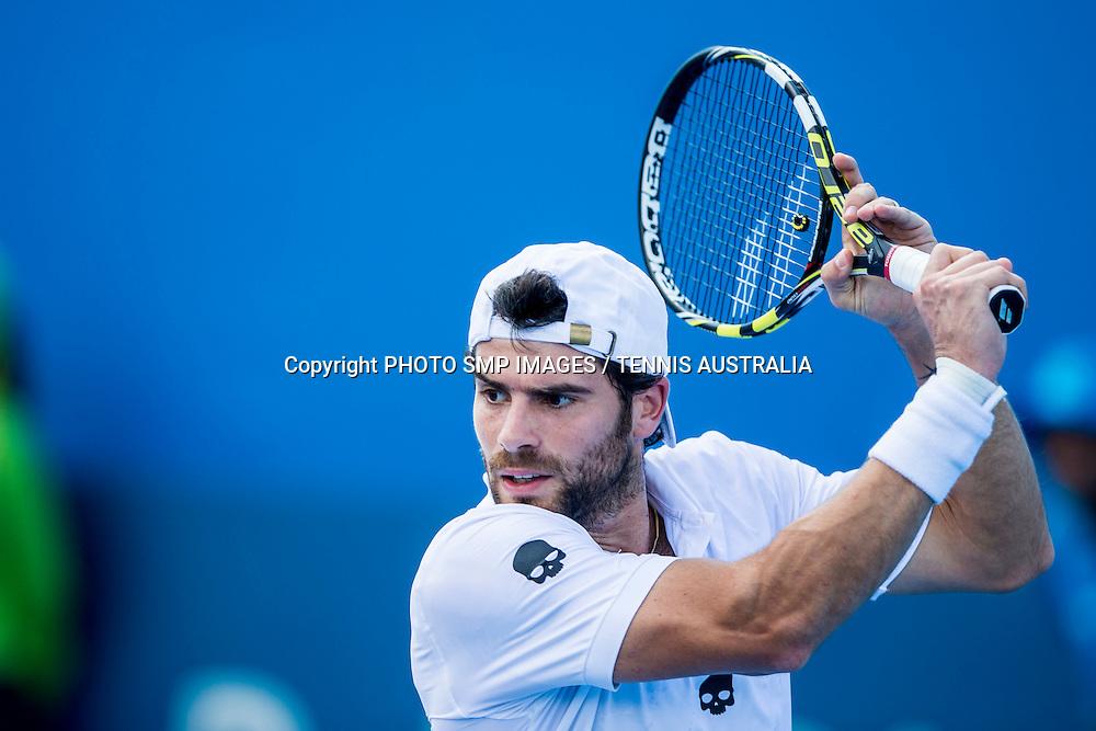 SIMONE BOLELLI (ITA)  during Day 4 of the 2015 Apia Sydney International played at Sydney Olympic Park Tennis Centre, Sydney, Australia, Wednesday, 14 Jan 2015.