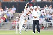 Essexs Jamie Porter during the Specsavers County Champ Div 1 match between Lancashire County Cricket Club and Essex County Cricket Club at the Emirates, Old Trafford, Manchester, United Kingdom on 9 June 2018. Picture by George Franks.