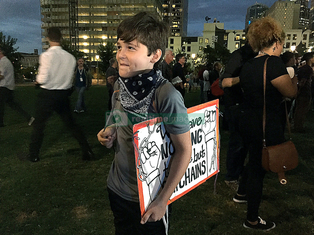 Eleven-year-old Ethan Julian of Greensboro, N.C., at Romare Bearden Park in Charlotte, NC, USA, on Thursday, September 22, 2016. Photo by Jeff Siner/Charlotte Observer/TNS/ABACAPRESS.COM