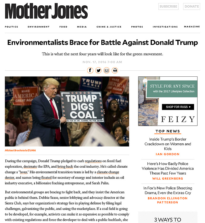 Donald Trump supporting coal in Wilkes-Barre, PA - Mother Jones, November 17, 2016.