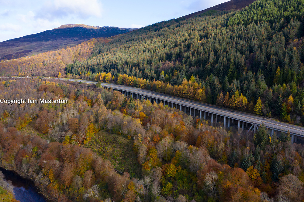 Transport corridor through the Pass of Killiecrankie in Perthshire, Scotland, UK. River Garry to left, mainline railway, B8079 and elevated A9 to right.
