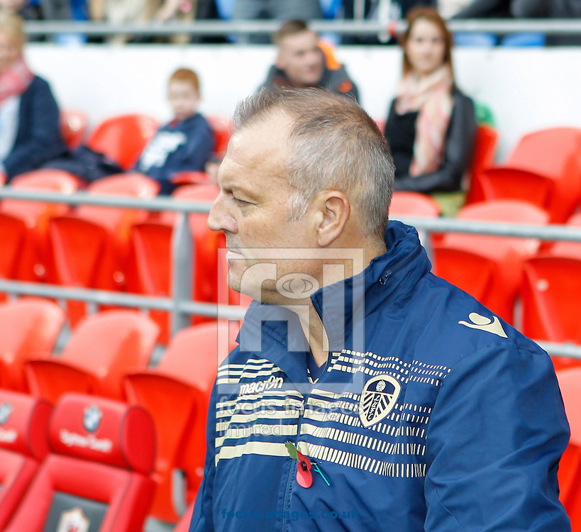 Manager Neil Redfearn of Leeds United during the Sky Bet Championship match at the Cardiff City Stadium, Cardiff<br /> Picture by Mike  Griffiths/Focus Images Ltd +44 7766 223933<br /> 01/11/2014