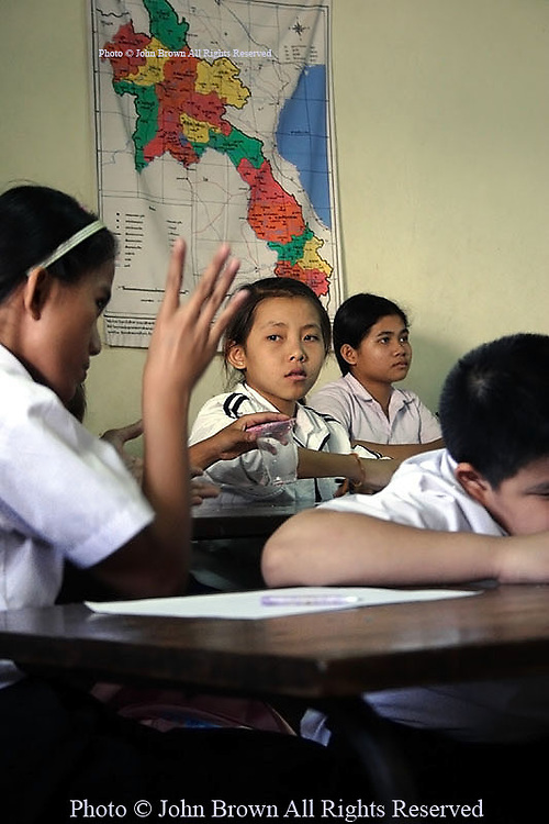 Children without hearing (deaf) use signs to communicate during classes at The National Rehabilitation Center in Vientiane Laos...