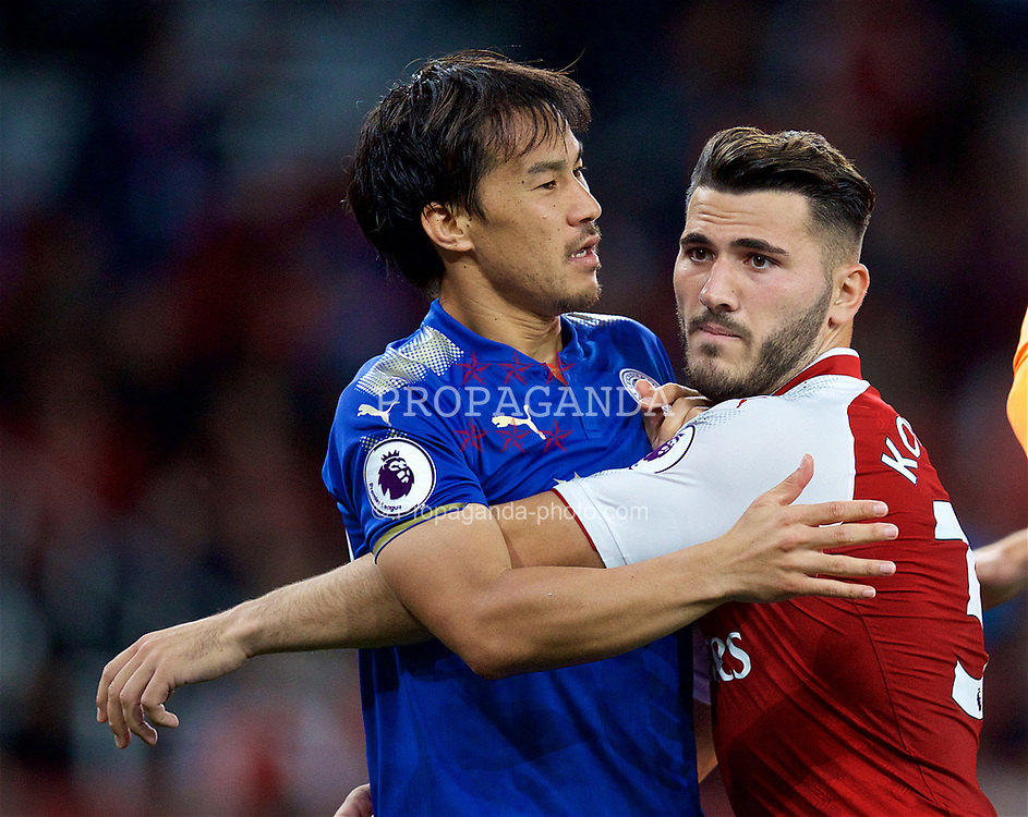 LONDON, ENGLAND - Friday, August 11, 2017: Arsenal's Sead Kolašinac and Leicester City's Shinji Okazaki during the FA Premier League match between Arsenal and Leicester City at the Emirates Stadium. (Pic by David Rawcliffe/Propaganda)