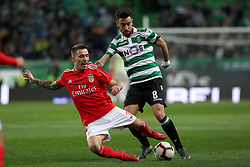 February 3, 2019 - Lisbon, Portugal - Benfica's Spanish defender Alejandro Grimaldo (L ) vies with Sporting's midfielder Bruno Fernandes from Portugal during the Portuguese League football match Sporting CP vs SL Benfica at Alvalade stadium in Lisbon, Portugal on February 3, 2019. (Credit Image: © Pedro Fiuza/NurPhoto via ZUMA Press)