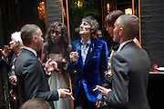 ON THE NEW OUTSIDE TERACE AT TRAMP; DEAN CATEN (OF DQUARED2 ) ? RONNIE WOOD;  ANA ARAUJO; DAN CATEN, DSquared2 Launch of their Classic collection. Tramp. Jermyn St. London. 29 June 2011. <br /> <br />  , -DO NOT ARCHIVE-© Copyright Photograph by Dafydd Jones. 248 Clapham Rd. London SW9 0PZ. Tel 0207 820 0771. www.dafjones.com.