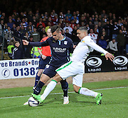 Emilio Izaguirre tackles Luka Tankulic - Dundee v Celtic - SPFL Premiership at Dens Park<br /> <br /> <br />  - &copy; David Young - www.davidyoungphoto.co.uk - email: davidyoungphoto@gmail.com