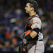 NEW YORK, NEW YORK - APRIL 29:  Buster Posey #28 of the San Francisco Giants as the Mets score twelve runs in the third inning during the New York Mets Vs San Francisco Giants MLB regular season game at Citi Field on April 29, 2016 in New York City. (Photo by Tim Clayton/Corbis via Getty Images)