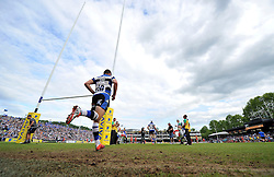 George Ford of Bath Rugby runs out onto the field for the second half - Photo mandatory by-line: Patrick Khachfe/JMP - Mobile: 07966 386802 23/05/2015 - SPORT - RUGBY UNION - Bath - The Recreation Ground - Bath Rugby v Leicester Tigers - Aviva Premiership Semi-Final