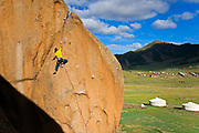 Andy Merriman on Chinggis Gold 5.12a, Gorkhi-Terelj National Park, Mongolia