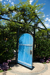 Blue door entrance to the Children's Garden, The Huntington Library, Art Collection, and Botanical Gardens San Marino, California, United States of America