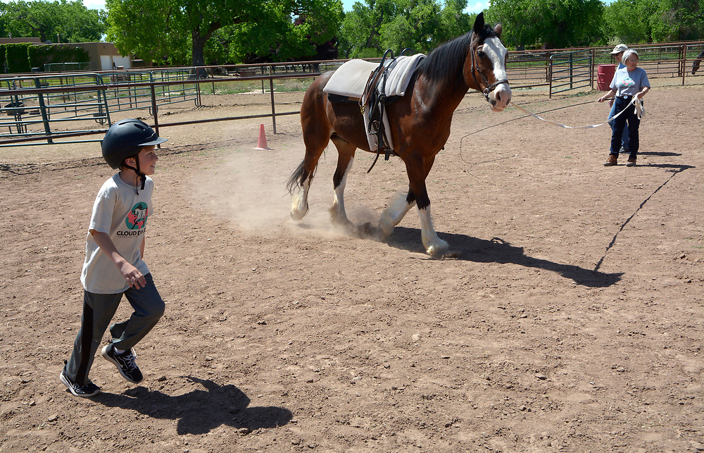 gbs050717k/LIVING -- Matthew Fehr, 9, of Albuquerque, runs around with  Kirby Jack as Sue Corlew of Albuquerque leads him in a circle during the  Cloud Dancers of the Southwest Therapeutic Horsemanship Program. (Greg Sorber/Albuquerque Journal)