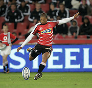 JOHANNESBURG, SOUTH AFRICA - 23 April 2011: Burton Francis of the Lions kicks for goal during the Super Rugby Match between the MTN Lions and the Chiefs held at Coca Cola Park Stadium, Johannesburg, South Africa. Photo by Dominic Barnardt