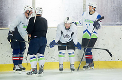 Jan Urbas, Gasper Kopitar, Anze Kopitar, NHL star and player of Los Angeles Kings and David Rodman during practice session and press conference before Kopitar's departure to USA, on September 3, 2014 in Ledna dvorana Bled, Slovenia. Photo by Vid Ponikvar  / Sportida.com