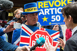 London, UK. 19 June, 2019. Conservative party leadership candidate is interviewed in Westminster by noted anti-Brexit campaigner Steve Bray of Stand of Defiance European Movement (SODEM) on the morning of the third ballot for the Conservative Party leadership. The candidate with the lowest number of votes will be eliminated.