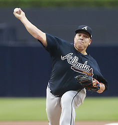 June 28, 2017 - San Diego, CA, USA - The Atlanta Braves' Bartolo Colon pitches against the San Diego Padres in the first inning at Petco Park in San Diego on Wednesday, June 28, 2017. (Credit Image: © Hayne Palmour Iv/TNS via ZUMA Wire)